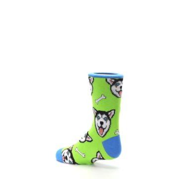 Image of Lime Green Happy Husky Dog Kid's Dress Socks (side-2-back-14)