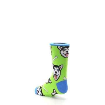 Image of Lime Green Happy Husky Dog Kid's Dress Socks (side-2-back-15)