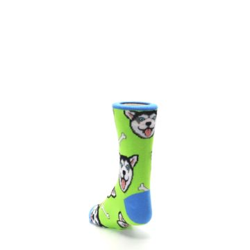 Image of Lime Green Happy Husky Dog Kid's Dress Socks (side-2-back-16)