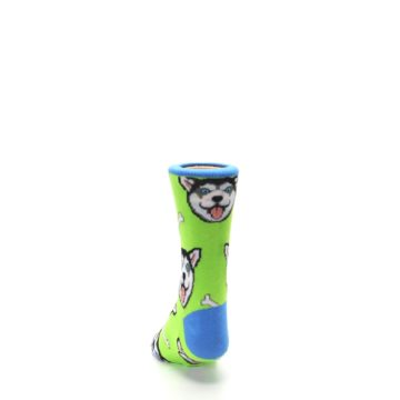 Image of Lime Green Happy Husky Dog Kid's Dress Socks (back-17)