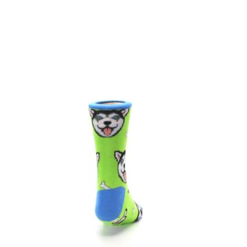 Image of Lime Green Happy Husky Dog Kid's Dress Socks (back-19)