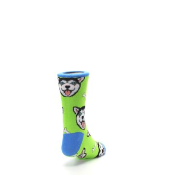 Image of Lime Green Happy Husky Dog Kid's Dress Socks (side-1-back-20)