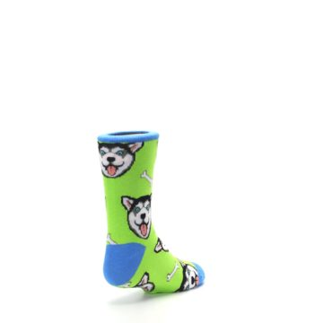 Image of Lime Green Happy Husky Dog Kid's Dress Socks (side-1-back-21)