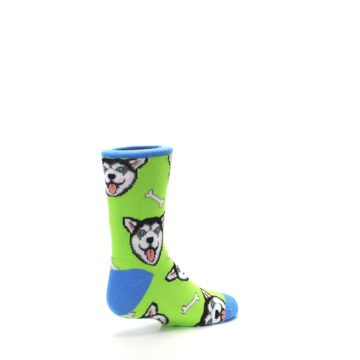 Image of Lime Green Happy Husky Dog Kid's Dress Socks (side-1-back-22)
