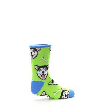 Image of Lime Green Happy Husky Dog Kid's Dress Socks (side-1-23)