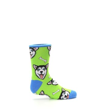 Image of Lime Green Happy Husky Dog Kid's Dress Socks (side-1-24)
