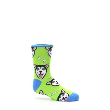 Image of Lime Green Happy Husky Dog Kid's Dress Socks (side-1-25)