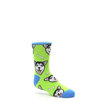 Image of Lime Green Happy Husky Dog Kid's Dress Socks (side-1-26)