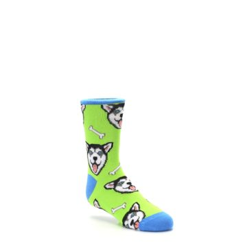 Image of Lime Green Happy Husky Dog Kid's Dress Socks (side-1-27)