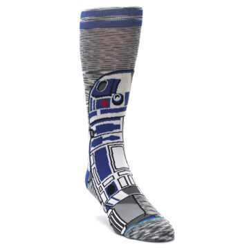 Image of Gray Blue R2-D2 Star Wars Men's Casual Socks (side-1-front-02)