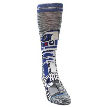 Image of Gray Blue R2-D2 Star Wars Men's Casual Socks (side-1-front-03)