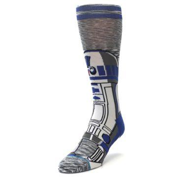 Image of Gray Blue R2-D2 Star Wars Men's Casual Socks (side-2-front-07)