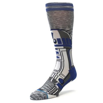 Image of Gray Blue R2-D2 Star Wars Men's Casual Socks (side-2-front-08)