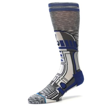 Image of Gray Blue R2-D2 Star Wars Men's Casual Socks (side-2-09)