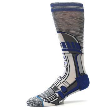 Image of Gray Blue R2-D2 Star Wars Men's Casual Socks (side-2-10)