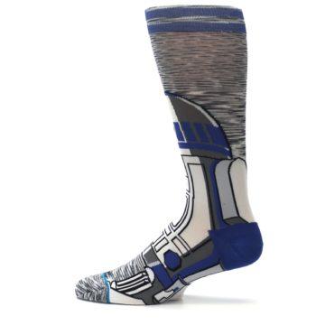 Image of Gray Blue R2-D2 Star Wars Men's Casual Socks (side-2-12)