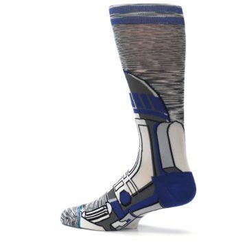 Image of Gray Blue R2-D2 Star Wars Men's Casual Socks (side-2-13)