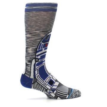Image of Gray Blue R2-D2 Star Wars Men's Casual Socks (side-1-24)