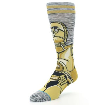 Image of Gold C-3PO Android Star Wars Men's Casual Socks (side-2-front-08)