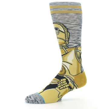 Image of Gold C-3PO Android Star Wars Men's Casual Socks (side-2-10)