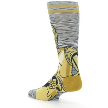 Image of Gold C-3PO Android Star Wars Men's Casual Socks (side-2-back-14)