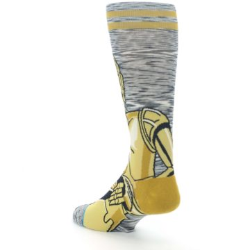 Image of Gold C-3PO Android Star Wars Men's Casual Socks (side-2-back-15)