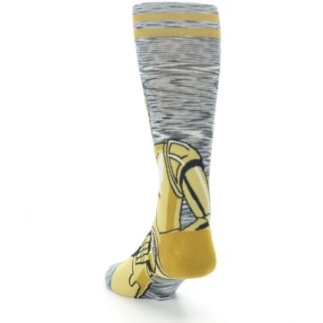 Image of Gold C-3PO Android Star Wars Men's Casual Socks (side-2-back-16)