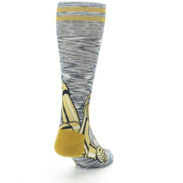 Image of Gold C-3PO Android Star Wars Men's Casual Socks (side-1-back-20)