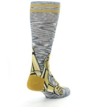 Image of Gold C-3PO Android Star Wars Men's Casual Socks (side-1-back-21)