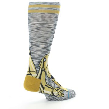 Image of Gold C-3PO Android Star Wars Men's Casual Socks (side-1-back-22)