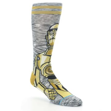 Image of Gold C-3PO Android Star Wars Men's Casual Socks (side-1-27)