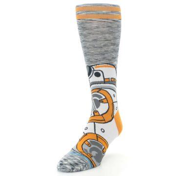 Image of Orange White BB-8 Star Wars Men's Casual Socks (side-2-front-07)