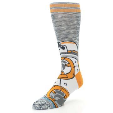 Image of Orange White BB-8 Star Wars Men's Casual Socks (side-2-front-08)
