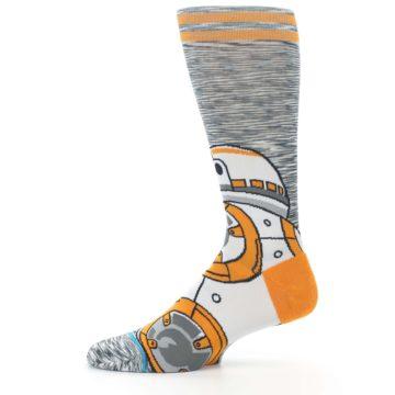 Image of Orange White BB-8 Star Wars Men's Casual Socks (side-2-11)