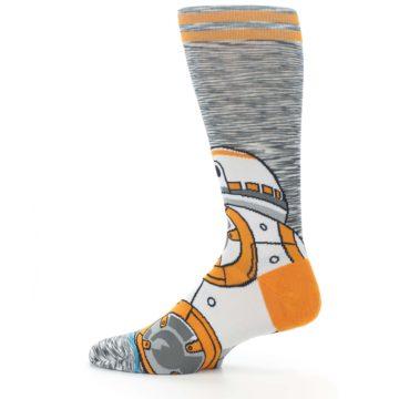 Image of Orange White BB-8 Star Wars Men's Casual Socks (side-2-12)