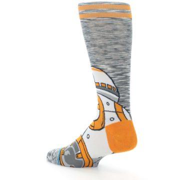 Image of Orange White BB-8 Star Wars Men's Casual Socks (side-2-back-14)