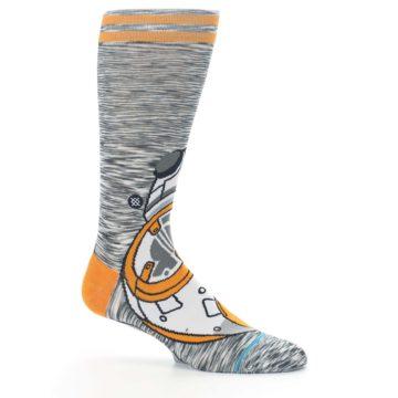 Image of Orange White BB-8 Star Wars Men's Casual Socks (side-1-25)