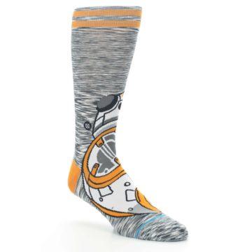 Image of Orange White BB-8 Star Wars Men's Casual Socks (side-1-27)
