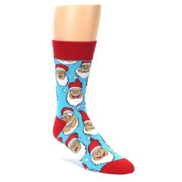Blue-Red-Laughing-Santa-Christmas-Mens-Dress-Socks-Yo-Sox