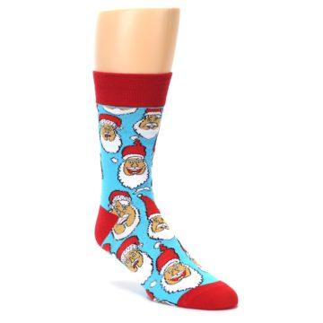 Image of Blue Red Laughing Santa Christmas Men's Dress Socks (side-1-front-02)