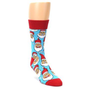 Image of Blue Red Laughing Santa Christmas Men's Dress Socks (side-1-front-03)