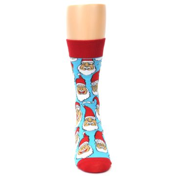 Image of Blue Red Laughing Santa Christmas Men's Dress Socks (front-05)