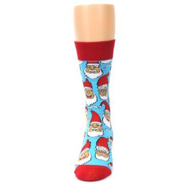 Image of Blue Red Laughing Santa Christmas Men's Dress Socks (side-2-front-06)