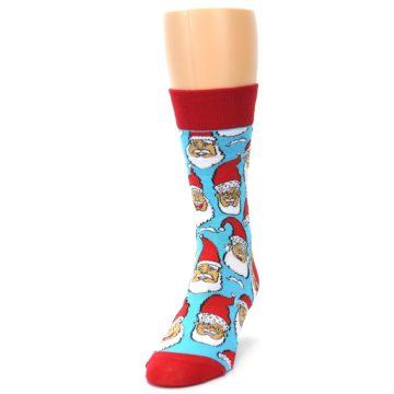 Image of Blue Red Laughing Santa Christmas Men's Dress Socks (side-2-front-07)