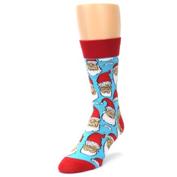 Image of Blue Red Laughing Santa Christmas Men's Dress Socks (side-2-front-08)