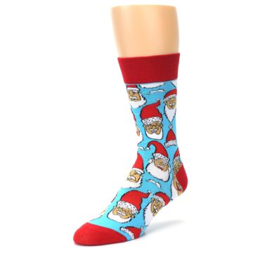 Image of Blue Red Laughing Santa Christmas Men's Dress Socks (side-2-09)