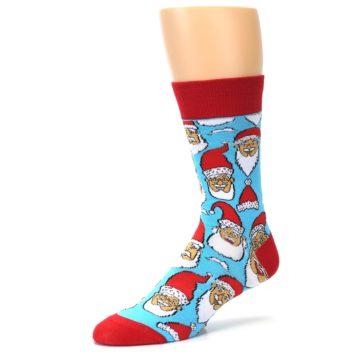 Image of Blue Red Laughing Santa Christmas Men's Dress Socks (side-2-10)