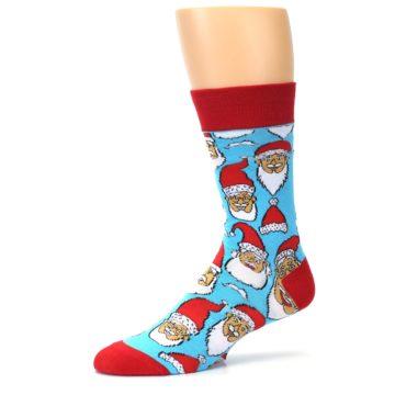 Image of Blue Red Laughing Santa Christmas Men's Dress Socks (side-2-11)