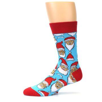 Image of Blue Red Laughing Santa Christmas Men's Dress Socks (side-2-12)