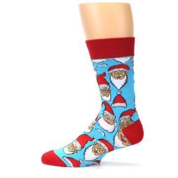 Image of Blue Red Laughing Santa Christmas Men's Dress Socks (side-2-13)
